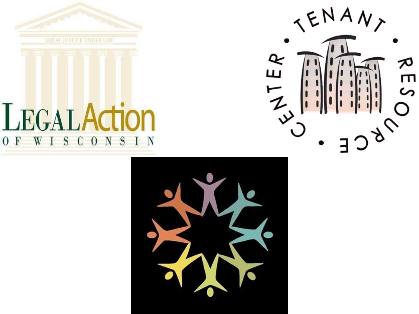 legal action of wisconsin logo, common wealth development logo, and tenant resource center logo
